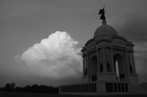 Wolcott pa monument before storm