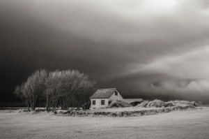 Storm over a farmhouse